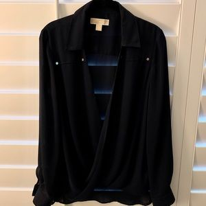 Michael Kors cross over blouse with gold detail